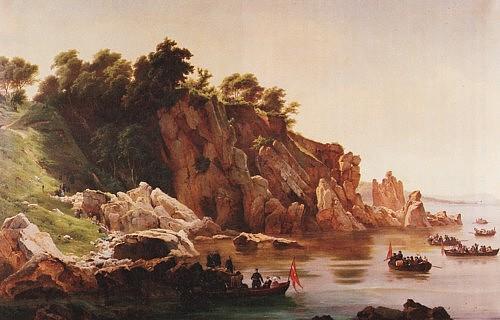 Lunde_Frederik_7_ved_Helligdomsklipperne_1851